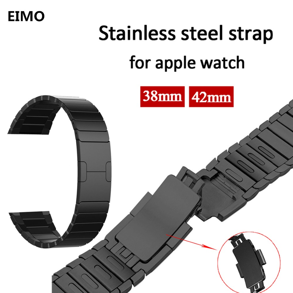 Link Bracelet Strap for Apple Watch 3/2/1 42mm 38mm band Stainless Steel metal buckle watchband for iwatch 3/2/1 Removable band