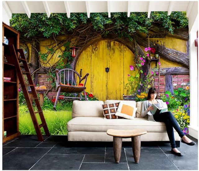 3d wallpaper custom photo mural Romantic cottage garden background ...