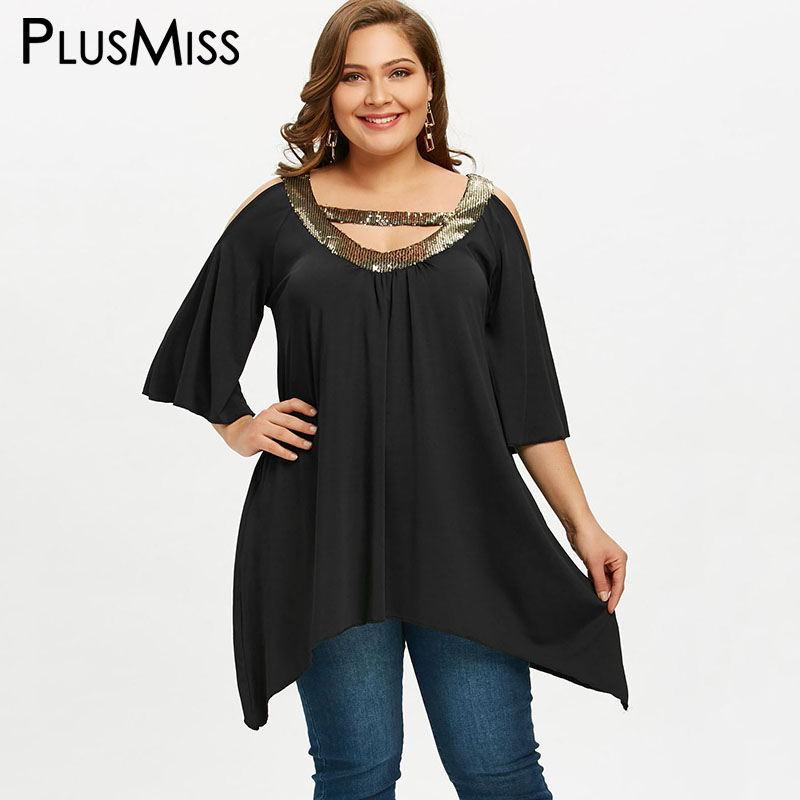 e21f650e618 PlusMiss Plus Size 5XL Sequin Collar Cold Shoulder Tunic Tops Short Sleeve  Party Blouse 2018 Women Clothing Large Size Blusas-in Blouses   Shirts from  ...