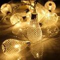 3.3 M 20led luz conduzida Da corda Da Bateria LEVOU Luzes Da Corda Do Pátio de Metal Gotejamento lâmpada Quarto luzes de Natal Festa de Casamento Decoração Do Feriado