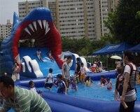 Hot sale great blue shark shape inflatable slide for swimming pool water slide