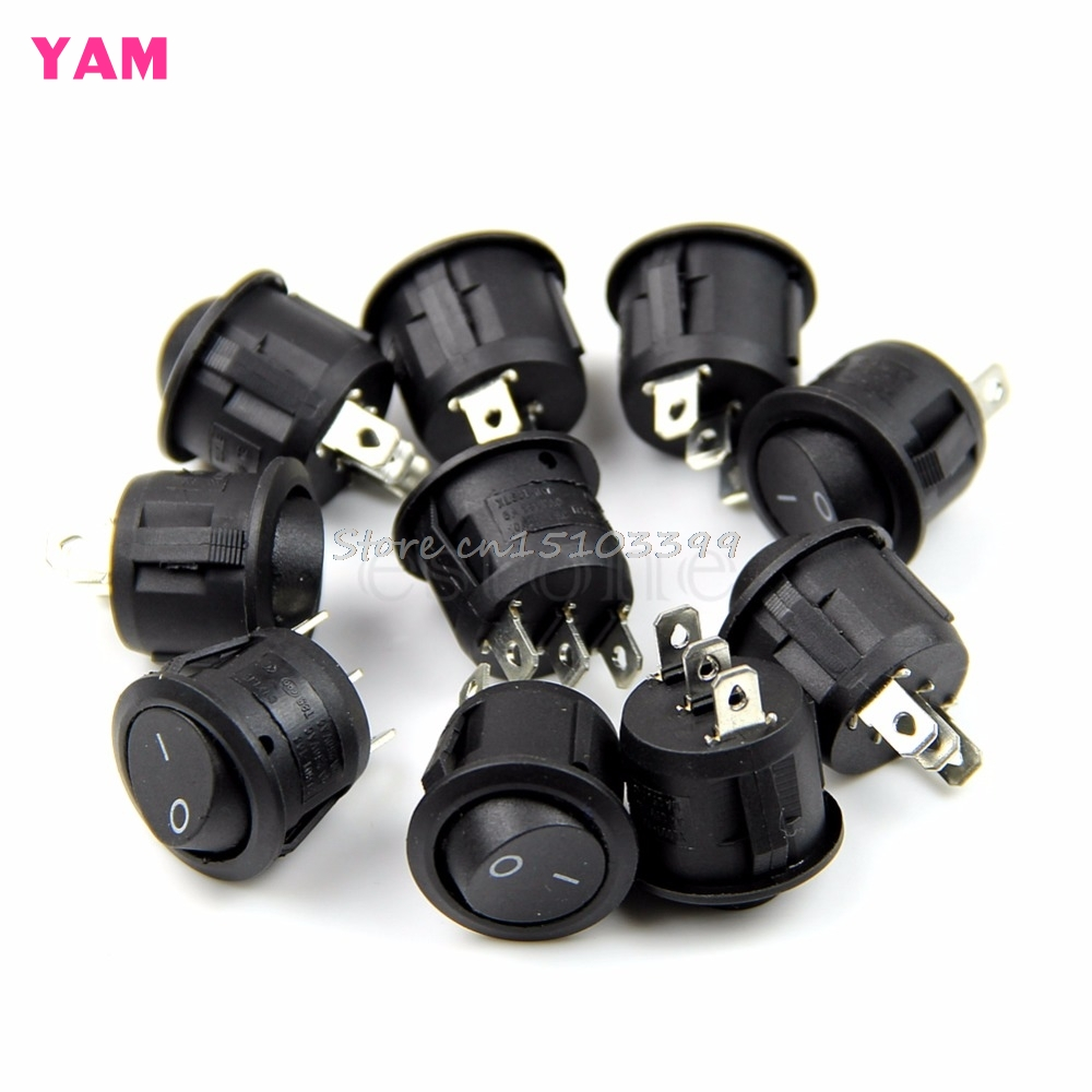 5Pcs NEW Mini Round 3 Pin SPDT ON-OFF Rocker Switch Snap-in Black G08 Drop ship 250vac 15a 125vac 20a 4 pin 2 position dpst on off snap in rocker switch kcd2 201n