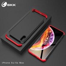 GKK iPhone için kılıf X XR XS Max Durumda 360 Her şey dahil 3 in 1 Sabit PC Mat arka kapak için iPhone X 6 6 s 7 8 Kılıf Fundas ...