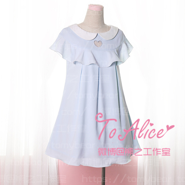 4f3369594d Kawaii Sexy Girls Chest Heart Hollow Out Falbala Layer Butterfly Sleeve  Summer Chiffon Dress Cute Lolita One Piece Blue   Pink