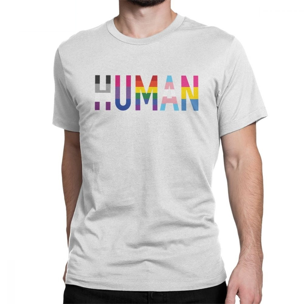 Human LGBT Men T Shirts Gay Pride Pansexual Asexual <font><b>Bisexual</b></font> Leisure 100% Cotton Short Sleeve Tees Crew Neck T-Shirt <font><b>Tops</b></font> image