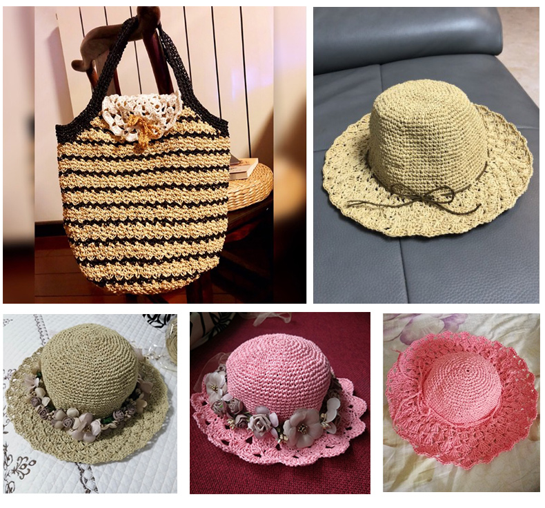 1 Roll Raffia Straw Yarn Crochet Yarn For DIY Knitting Summer Straw Hat Handbags Cushions Baskets Material Hand Knitting Yarn in Yarn from Home Garden