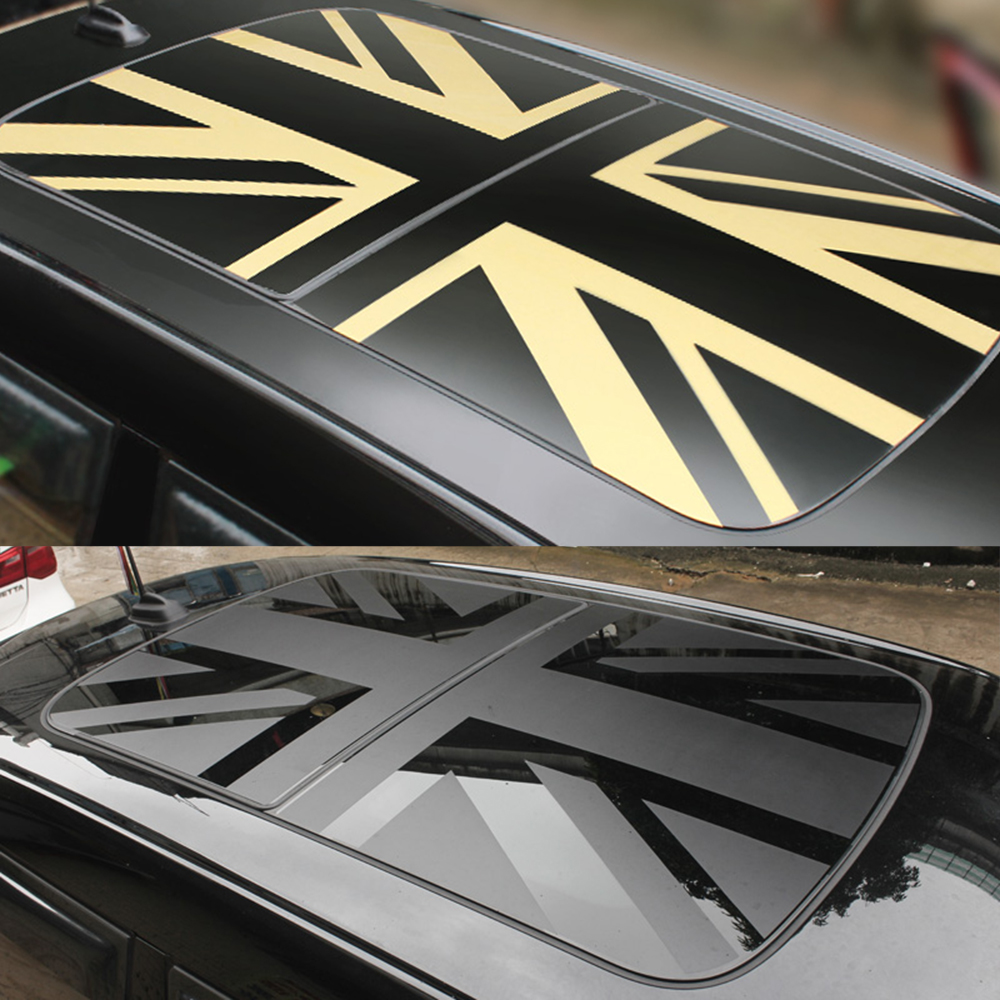 Car Sunroof Wrap Vinyl Film Roof Window Union Jack Sticker Decal Sunshade For MINI Cooper JCW S One+ F54 F55 F56 F60 Accessories 1pair union jack car side door skirt decal sticker decor for mini cooper f54 f55 f56 f60 r55 r56 r60 r61 car styling accessories