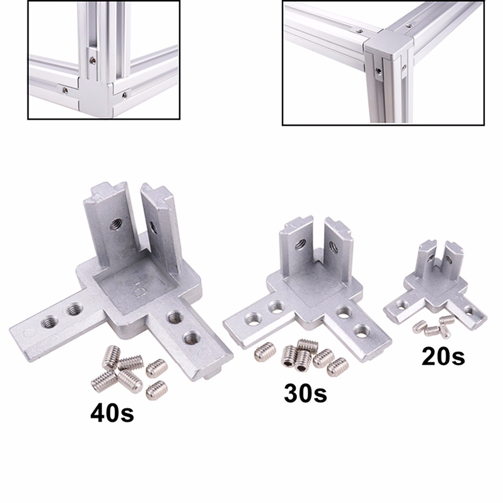 3-Way End Corner Bracket Connector For T Slot Aluminum Extrusion Profile 2020/3030/4040 Series (Pack Of 4, With Screws)