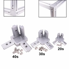 купить 3-Way End Corner Bracket Connector for T slot Aluminum Extrusion Profile 2020/3030/4040 series (Pack of 4, with screws) дешево