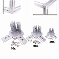 Conector de soporte de esquina de 3 vías para la serie 2020/3030/4040 de perfil de extrusión de aluminio con ranura en T (paquete de 4, con tornillos)
