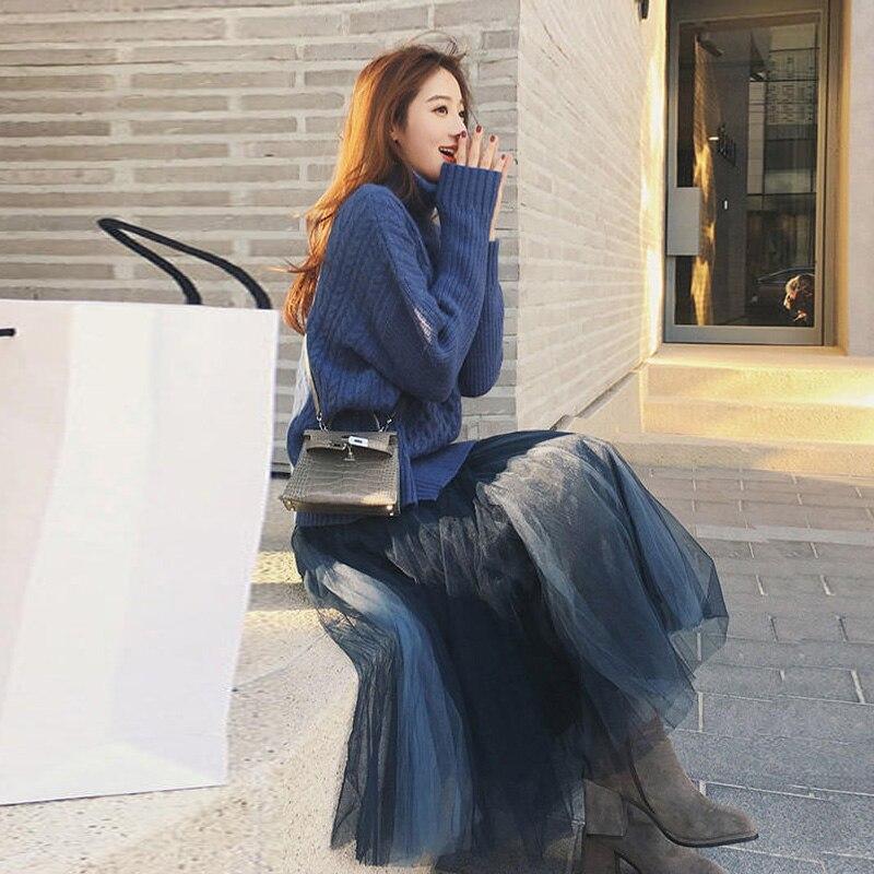 Femmes costume 2018 automne et hiver nouveau net rouge witty harbour saveur gaze jupe mode déesse Fan Yang pull deux pièces