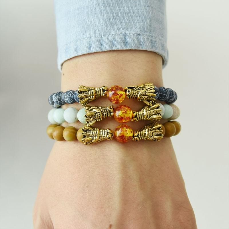 HYHONEY 8MM Natural Stone Beads Bracelet For Men bileklik Men Jewelry Dragon pulseras 9