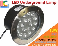 18W LED Underground Lamps 12V 24V 110V 220V 85 265V Outdoor IP67 Waterproof Buried lights DMX512 Color Garden Lighting CE
