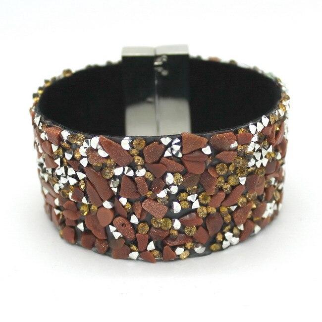 19cm mode estetiska läderarmband smycken med sten trendiga hög - Märkessmycken - Foto 3