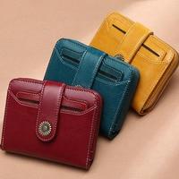 Genuine Leather Women Wallet Female Red Rfid Coin Purse Small Walet Portomonee PORTFOLIO Money Bag Lady Mini Card Holder