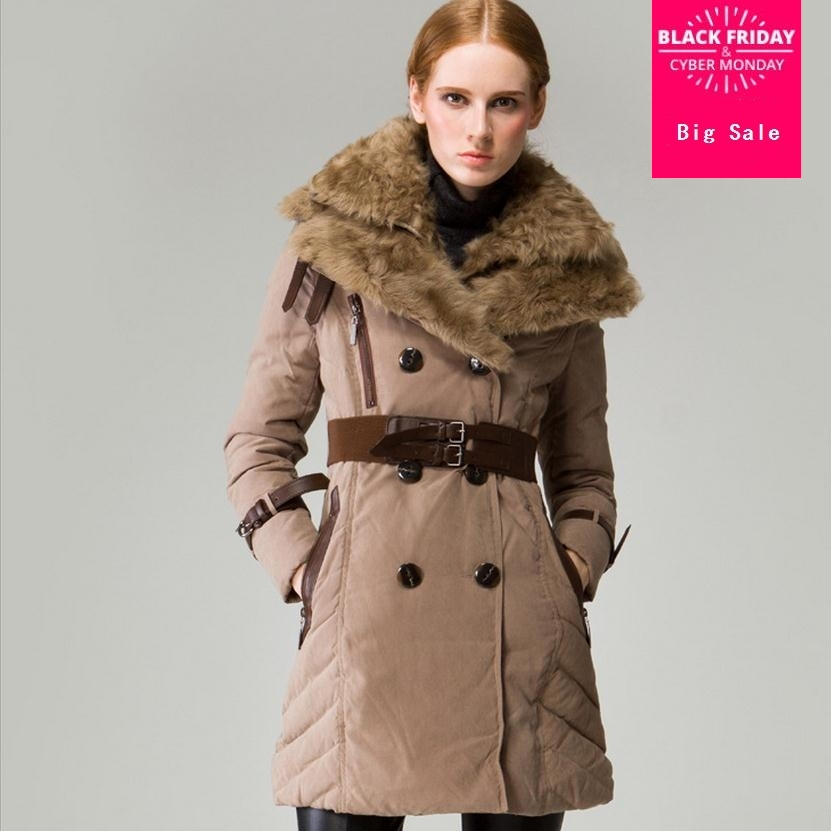 Wholesale Fashion brand 90% white duck   down   parkas 2019 winter sheep fur collar with belt double breasted warm   down     coat   wj1003