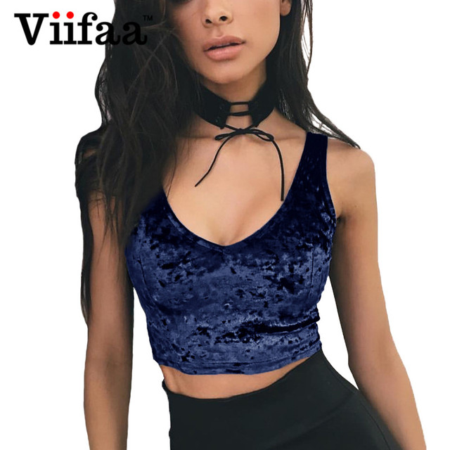 f73aec0c2fd84c Viifaa Velvet Sexy V Neck Tank Top Fitness Women Sleeveless Crop Top Summer Navy  Blue Backless Camisole Short Tops