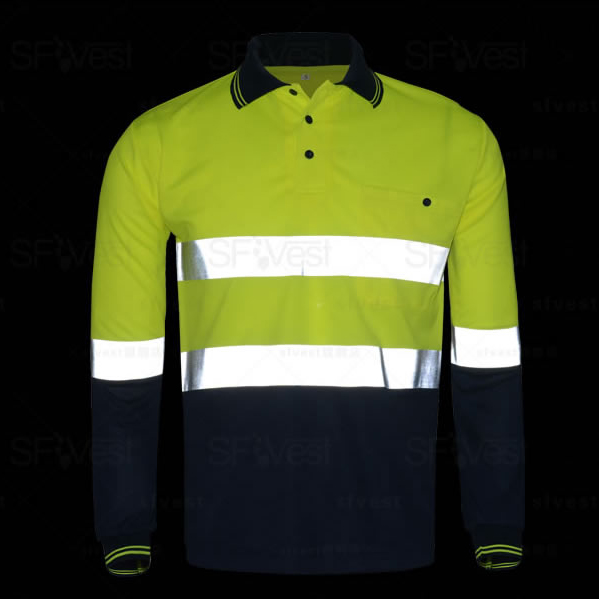 Men's  Hi Vis Polo Shirt  Safety Work Wear High Visibility Shirt Long Sleeve Polo Work Shirt Free Shipping