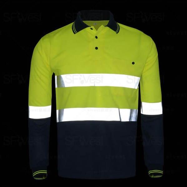 12805deb5 placeholder Men s Hi vis polo shirt Safety Work Wear High Visibility Shirt  Long Sleeve Polo work shirt