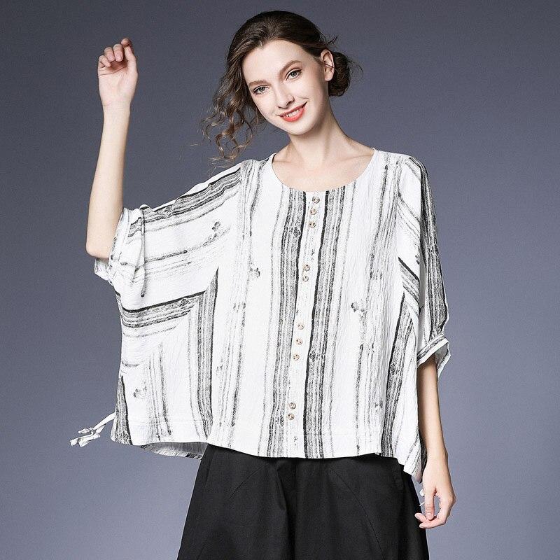 [EAM] 2019 nouveau printemps été col rond demi manches blanc rayé Split Joint lâche grande taille T-shirt femmes mode marée JT928 - 3