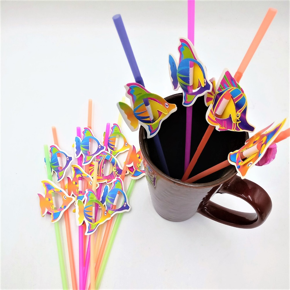 50pcs Cute 3D Fish Straw Flexible Plastic Drinking Straws Birthday Wedding Baby Shower Pool Party Decor Supplies