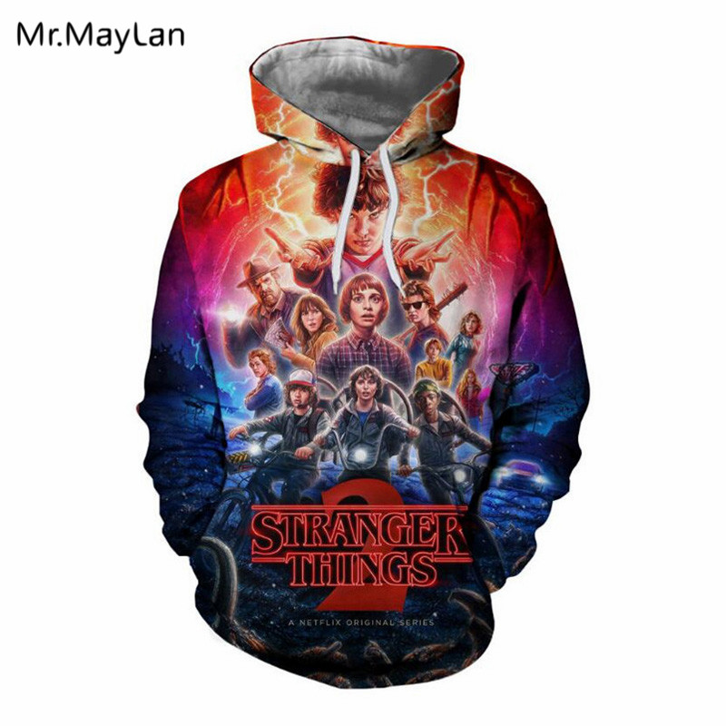 3D Print Movie Stranger Things Hoodies Hipster moletom com capuz 3d Men Women Pullovers Hooded Sweatshirts Boys Coat Jacket 2018