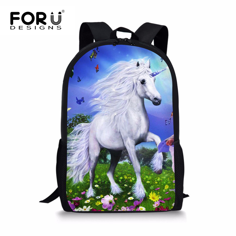 FORUDESIGNS Cartoon Printing Student Backpack, Unicorn Teenagers - Beg galas