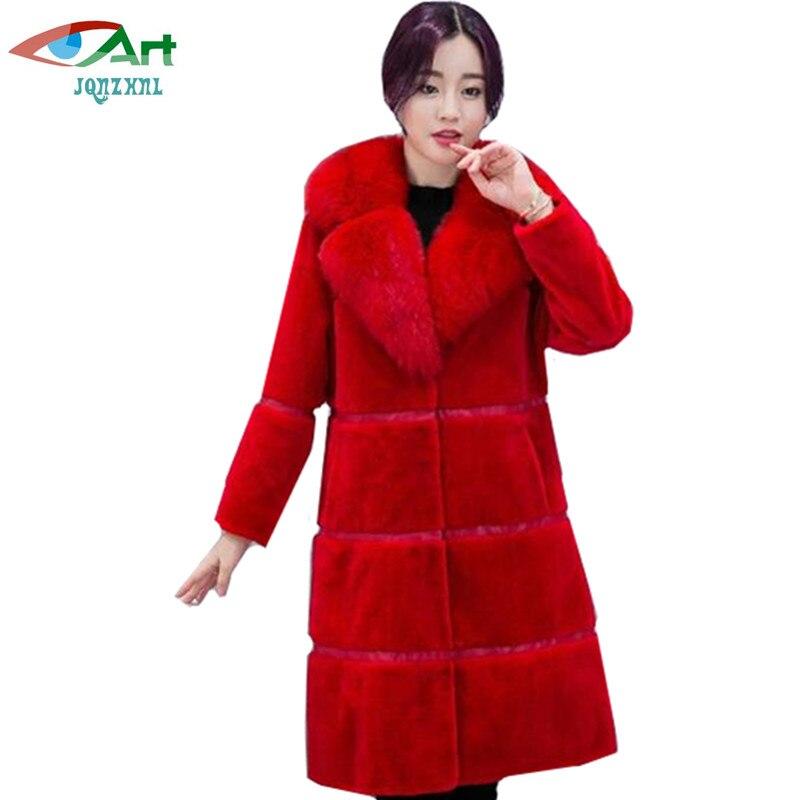 En Femmes Red Long 4xl black Imitation D'hiver Veste Jqnzhnl Manteaux Fourrure De 2019 Col Renard Chaud gray As425 Fausse Casual Mode EqPAUxw