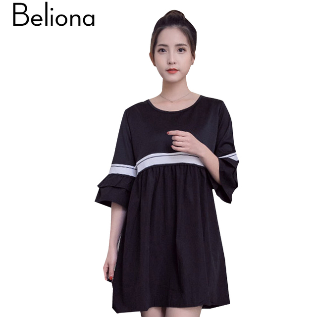 Black Formal Nursing Dress Loose Maternity Clothes For Pregnant