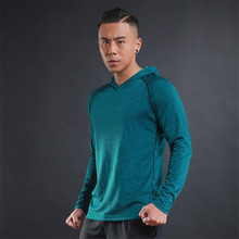 2017 New Casual Men's T-shirt Long-sleeved Hooded Thin Breathable Fitness Long Sleeve Tee Top Polyester LIE XING Brand Clothing