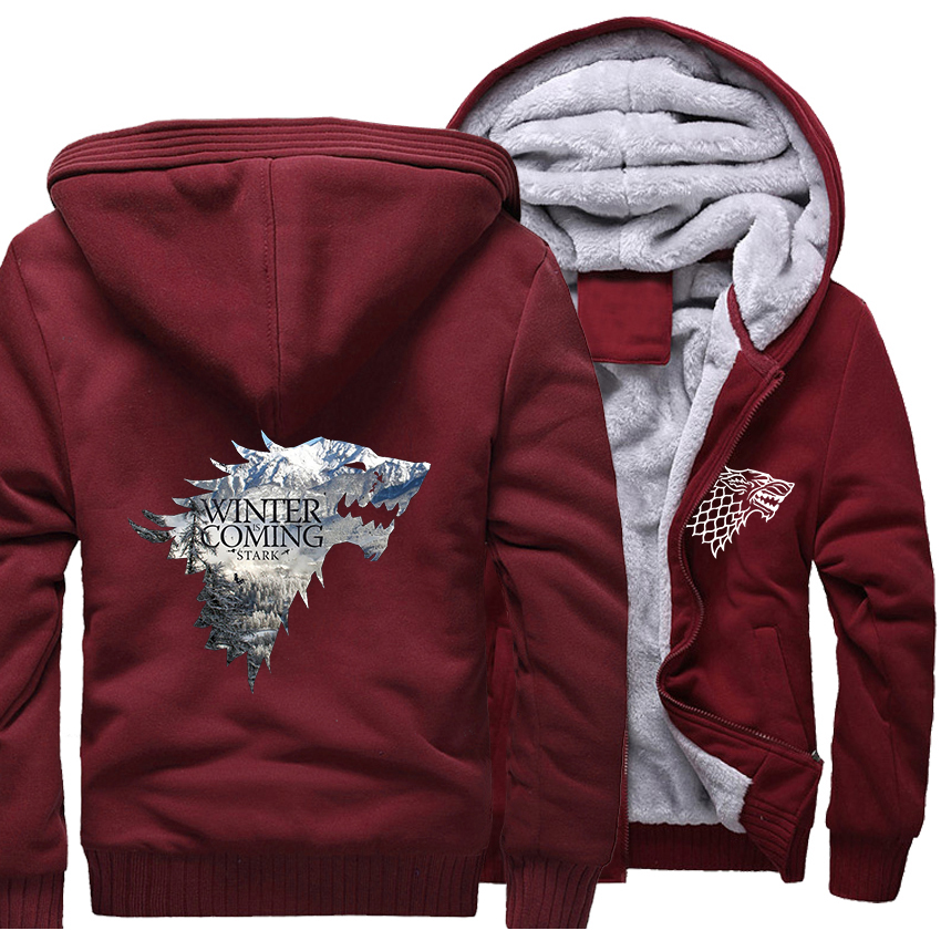 bb163faa9e6d 2018 Winter Thick Jackets Male Wine Red Men s Hoodies 3D Game Of Thrones  Anime Sweatshirts Harajuku Stark House Winter Is Coming