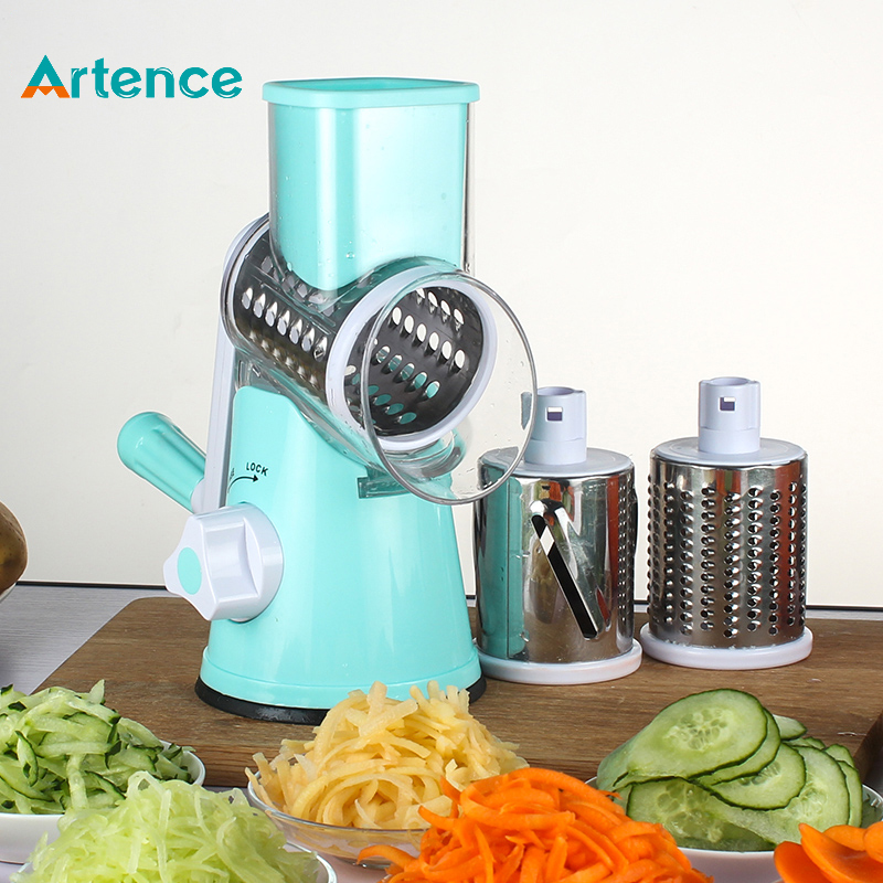 Manual Vegetable Cutter Slicer Kitchen Accessories Multifunctional Round Mandoline Slicer Potato Cheese Kitchen Tool