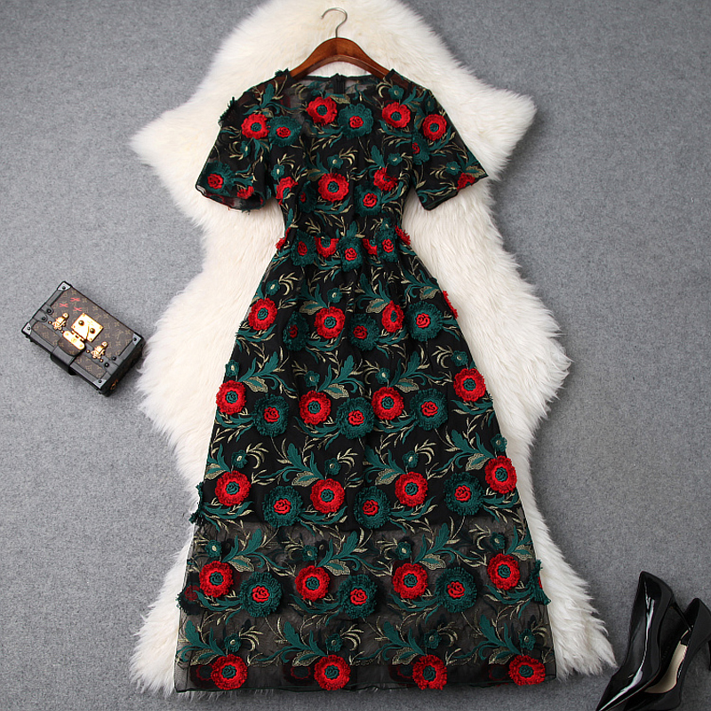 2019 NEW Spring Summer Embroidery Lace dress Women Short sleeve Slim Floral Party Dress Office Lady
