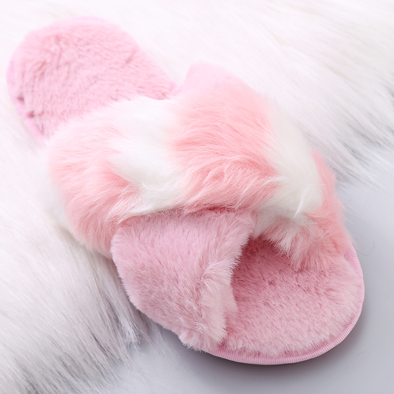 2018 Winter Women Home Slippers Faux Fur Slides Cute Furry Warm Plush Flats  Shoes Woman Slip ... 082adc59a5dc
