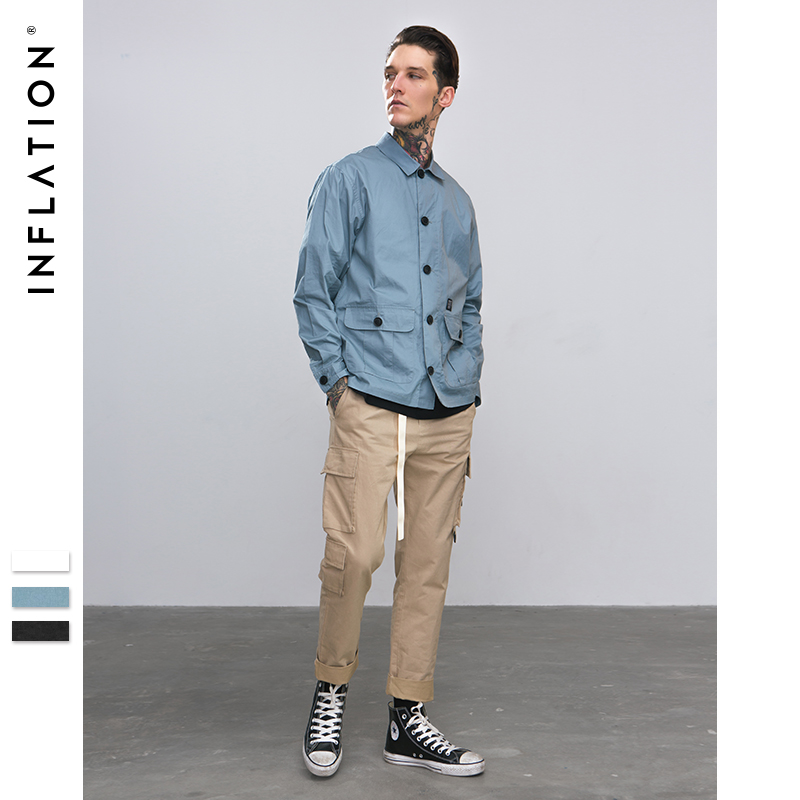 INFLATION Long Sleeve Shirt Men Hip Hop Swag Streetwear Casual Shirt 2018 Man Autumn Fashion Designer Brand Icon Shirts 8709W