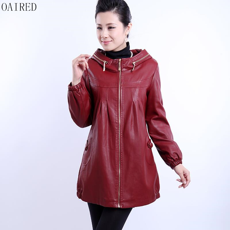 Plus Size 6XL   Leather   Coat Women 2019 New Black   Leather   Jacket Women Outerwear Long Slim Motorcycle Female   Leather   Clothing Red