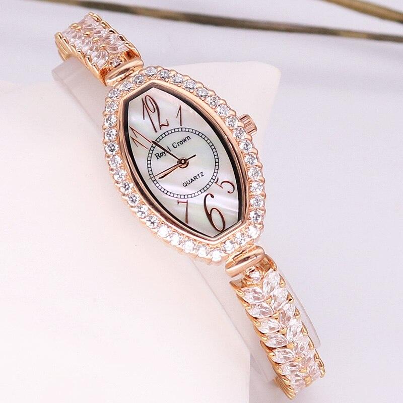 Pani zegarek damski moda japonia zegarek kwarcowy zegar kryształ godzin z masy perłowej sukienka bransoletka Rhinestone dziewczyna prezent królewski korona Box w Zegarki damskie od Zegarki na  Grupa 1