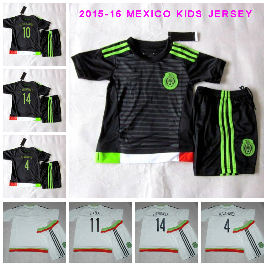 61903fe122f9c 2015 2016 camisetas de futbol de mexico niños hernández 2015 16 DOS SANTOS  camisa de mexico ropa bebe mexico uniformes de futbol VELA tailandia AAA en  ...