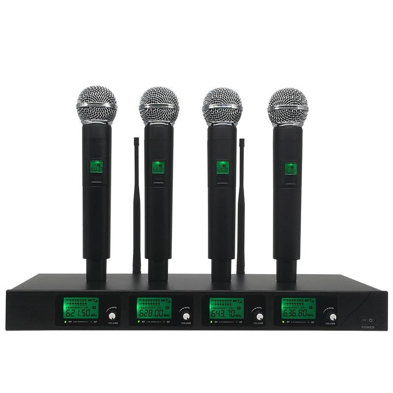 цена на ERZHEN Wireless Microphone System UR-4X Channel UHF 4 Handheld Microphone Karaoke