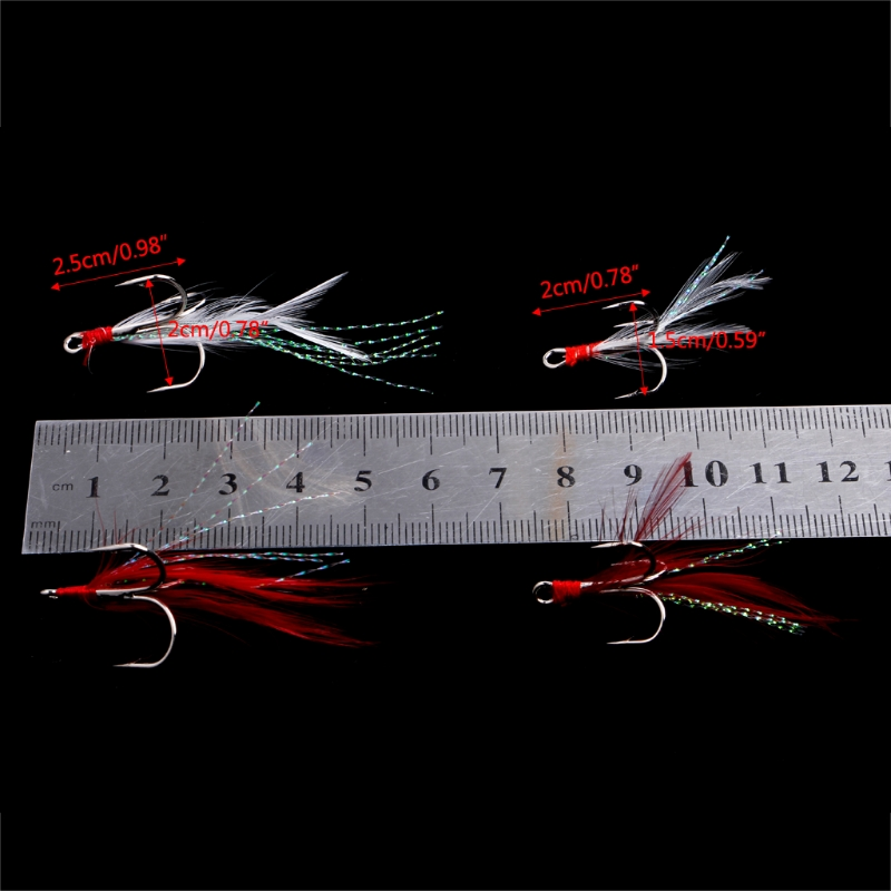 Image 4 - Fishing Soft Lures Treble Hooks Feather Barbed Fishhooks Tackles Accessories New-in Fishing Lures from Sports & Entertainment