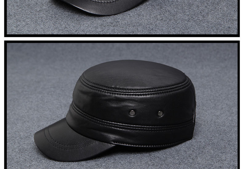 Autumn winter sheepskin hat male flat cap leather men outdoor leisure cap Leather Hat _13