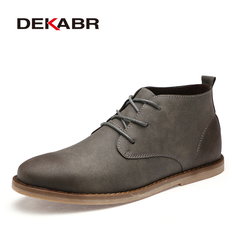 DEKABR Brand Ankle Boots Men 2019 New Pu Leather Lace Up Winter Boots Fashion Casual Men Shoes Breathable Handmade Autumn Boots