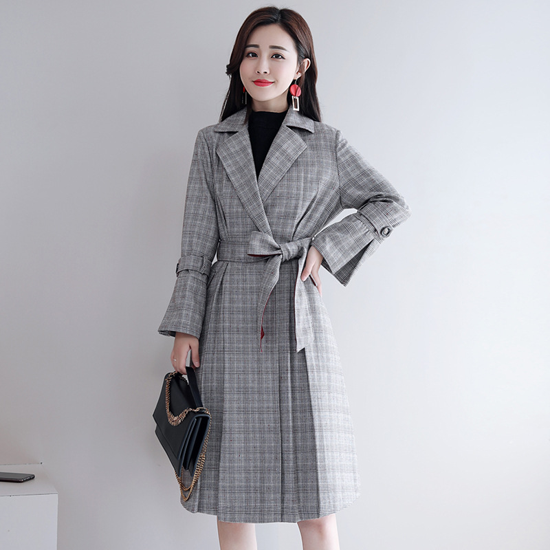 La Gray Nouveau Printemps Treillis Yzh1724 Occasionnel Fahion Turn Vêtements De Manteau Coupe Taille down 2018 Automne Plus Col vent Lâche Femelle Femmes wq0EW1nd