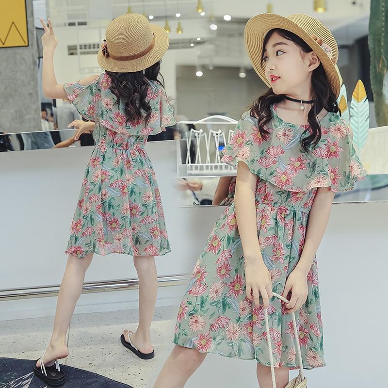 50a08b3ea4f Kids Girls Dresses Summer Style 2018 Chiffon Dress for Girls Off Shoulder Flower  Dress Teenage Little Girls Beach Dress Vestidos