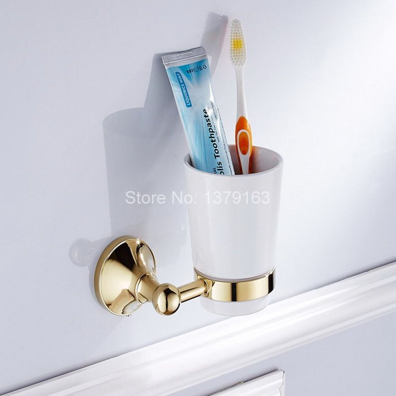 Luxury Gold Color Brass Bath Hardware Wall Mounted Single Tumbler Holder White Ceramics Toothbrush Cup Bathroom Accessory aba877