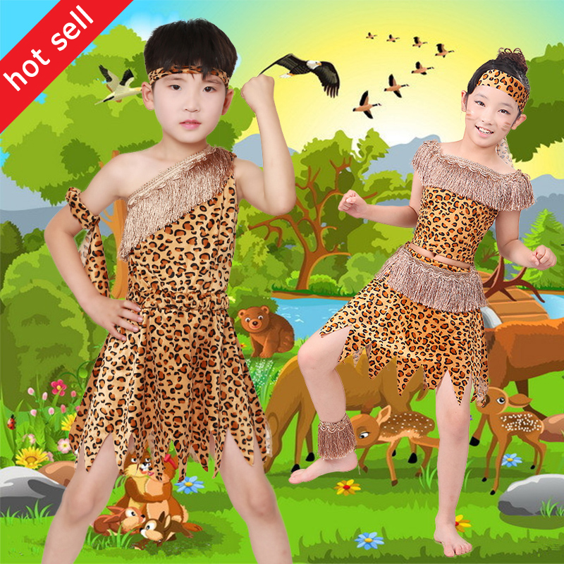 Children 's Hunter Performance Costume Wild Costume Dress Up African Tribal Dance Male And Female Leopard Performance Dress