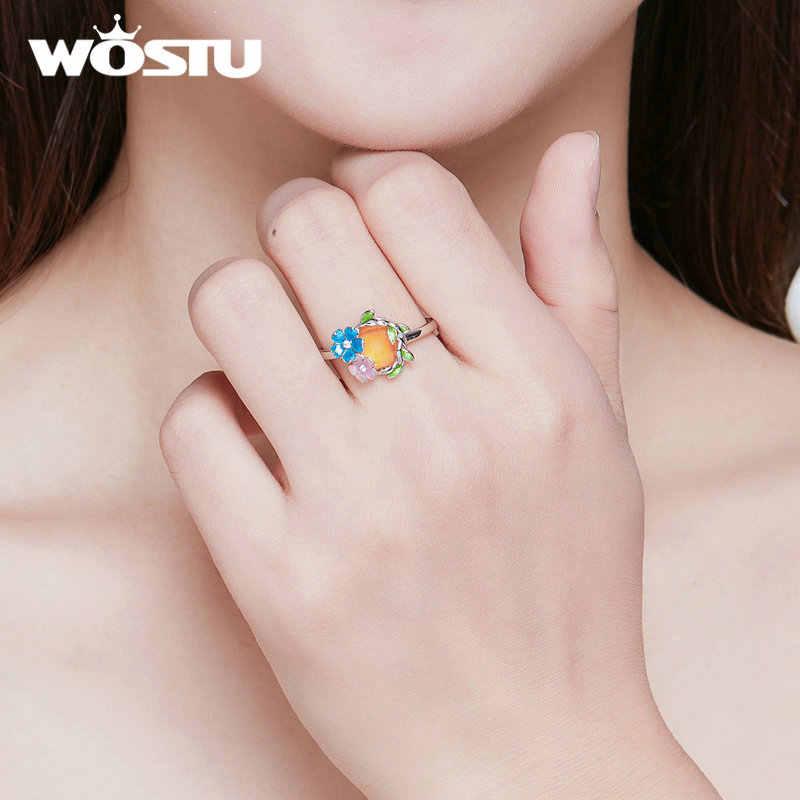 WOSTU Новое поступление Аутентичные 925 стерлингового серебра цветущие цветы Открытие Кольца красивый цветок розовый и синий лепестки цветение CTR062