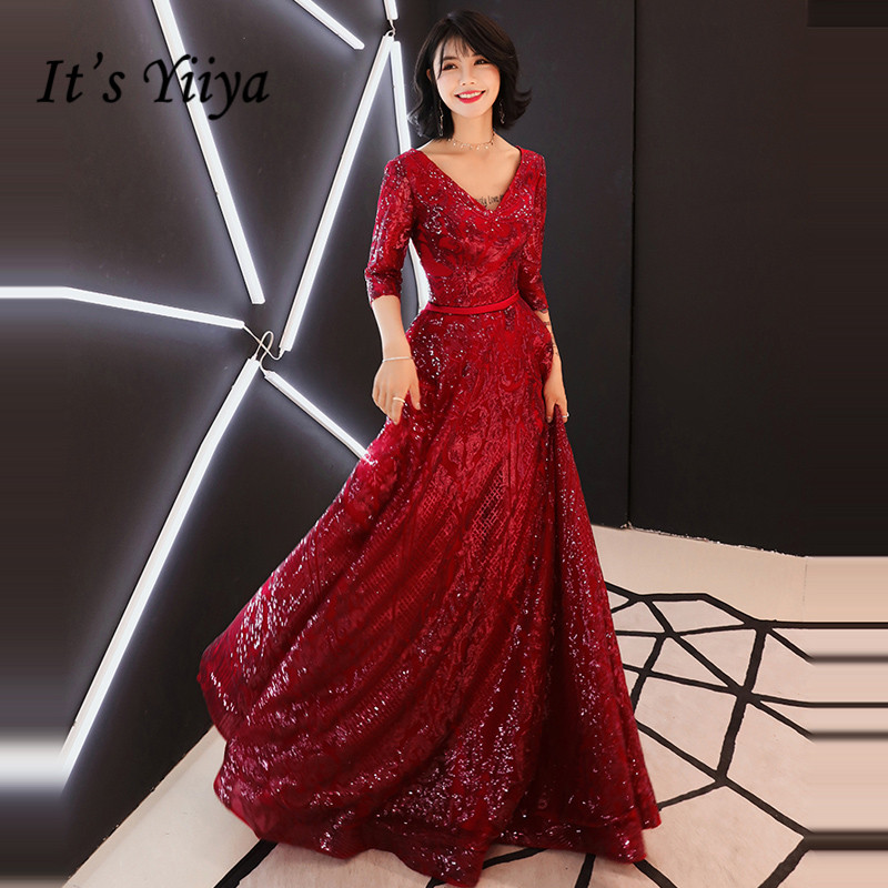 It's YiiYa Evening Dress 2019 Wine Red Bling Sequins V-neck Evening Gowns Floor-length Party Dresses LX1335 Robe De Soiree