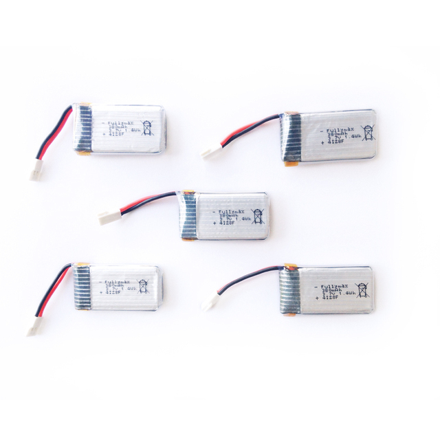 For Hubsan X4  Hubsan H107 L H107C H107D 3.7V Battery Quadcopter  Charger Battery Sets 3.7V 380mAh Lipo Battery 5Pcs and Charger