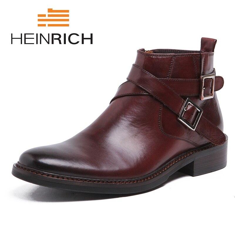 7af62dbb9cea54 Tops Mode Véritable Black Bout Mâle Laarzen Cheville Noir Heinrich brown  Sangle Chaussures Haute Martin Bottes De Cuir Hommes ...